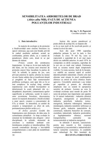 SENSIBILITATEA ARBORETELOR DE BRAD - Bucovina Forestiera