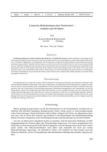 Limnische Molluskenfauna einer Nordseeinsel – verändert nach 40 ...