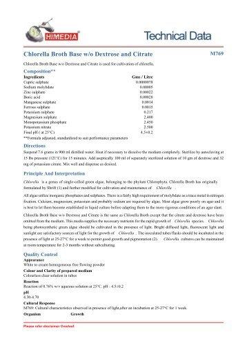 Chlorella Broth Base w/o Dextrose and Citrate - HiMedia Laboratories