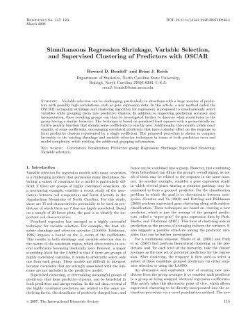 Simultaneous Regression Shrinkage, Variable Selection, and ...
