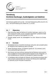 Verordnung Kirchliche Handlungen, Zuständigkeiten ... - Landeskirche
