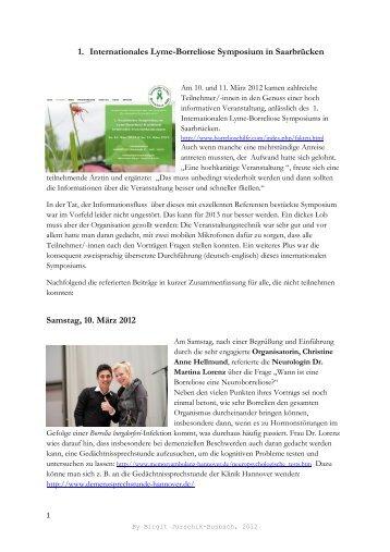 1. Internationales Lyme-Borreliose Symposium in Saarbrücken ...