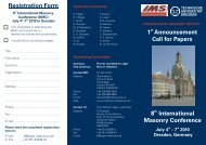 Registration Form 8 International Masonry ... - Presentation