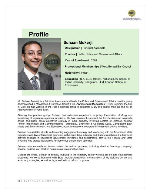 Profile Suhaan Mukerji - Lex Mundi