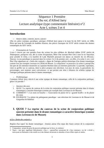 Lecture analytique Ubu roi Acte I scènes 3 - Cahier de texte Mme ...