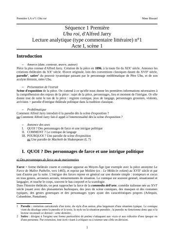 Lecture analytique Ubu roi Acte I scène 1 - Cahier de texte Mme ...