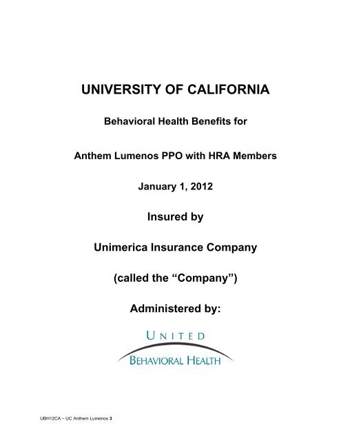 Anthem Blue Cross Lumenos PPO with HRA - At Your Service