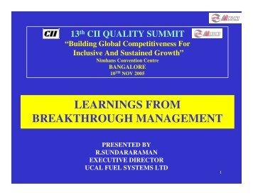 R Sundararaman - CII Institute of Quality