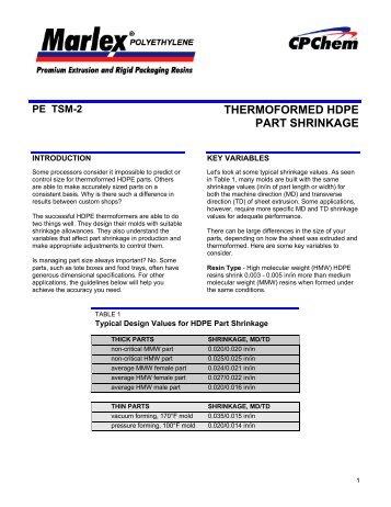 pe tsm-2 thermoformed hdpe part shrinkage - Yemm & Hart