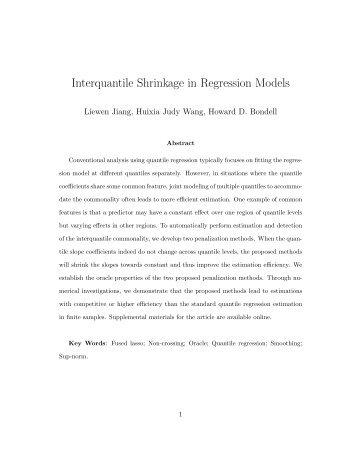 Interquantile Shrinkage in Regression Models - NCSU Statistics