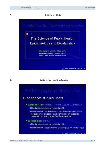 1. Lecture 2 - Tufts OpenCourseWare - Tufts University