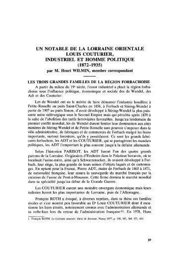UN NOTABLE DE LA LORRAINE ORIENTALE LOUIS COUTURIER ...