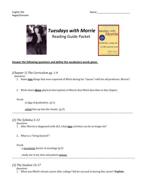 living funeral tuesdays with morrie
