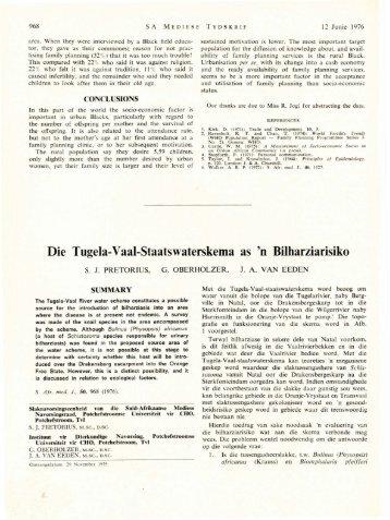 Die Tugela-Vaal-Staatswaterskema as 'n Bilharziarisiko