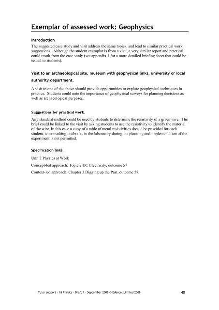 resistivity case study edexcel