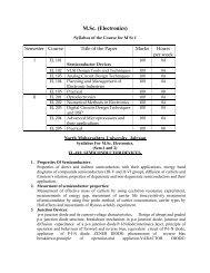 M.Sc. (Electronics) - North Maharashtra University