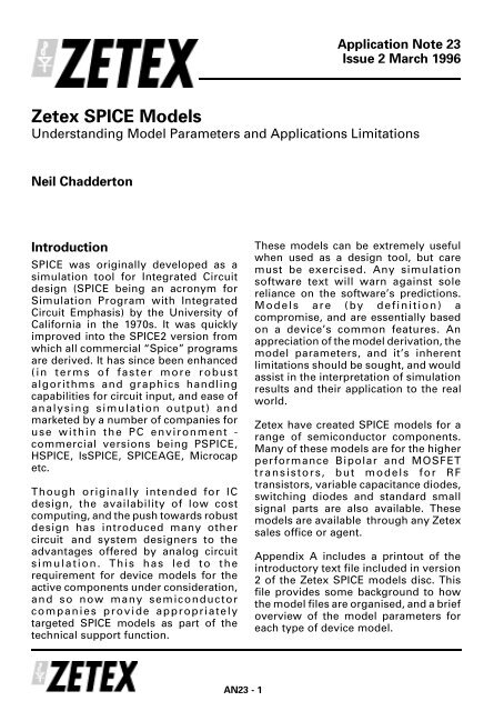 Zetex - AN23 - Zetex SPICE models - understanding
