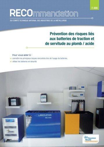Prévention des risques liés aux batteries de traction et de servitude ...