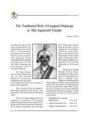 The Traditional Role of Gajapati Maharaja in Shri Jagannath Temple