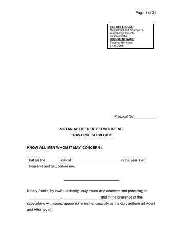 NOTARIAL DEED OF SERVITUDE NO TRAVERSE SERVITUDE ...