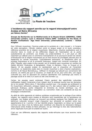 1 L'incidence du rapport servile sur le regard intersubjectif ... - Unesco