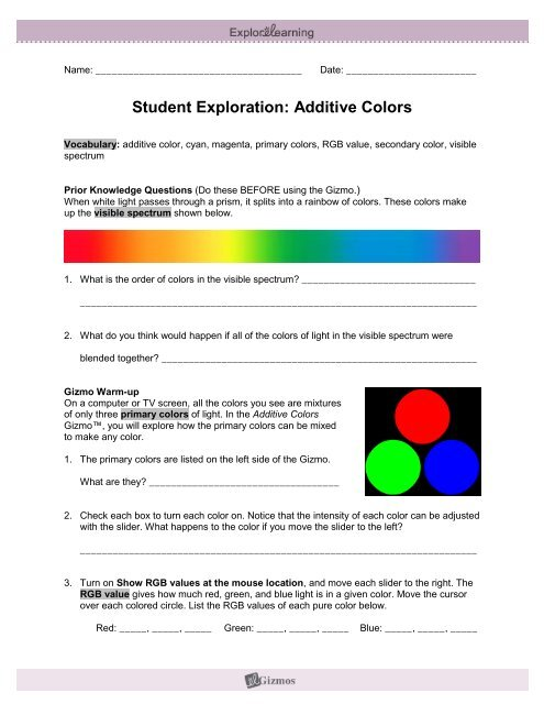 Student Exploration Additive Colors Explorelearning