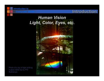 Introduction Human Vision Light, Color, Eyes, etc.