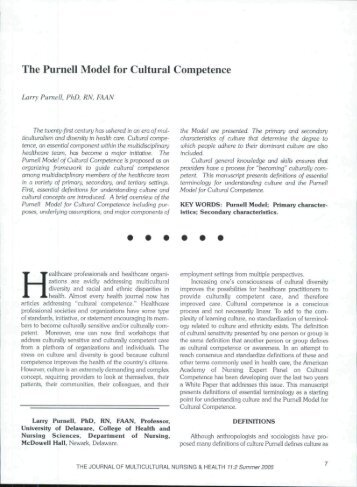 purnell model for cultural competence example