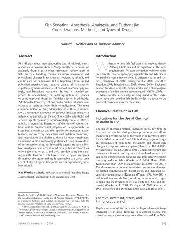 Fish Sedation, Anesthesia, Analgesia, and Euthanasia ...