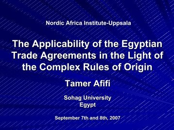 The Applicability of the Egyptian Trade Agreements in - The Nordic ...