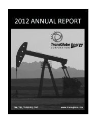 2012 Annual Report r192 - TransGlobe Energy Corporation