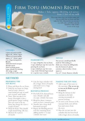 Firm Tofu (Momen) Recipe