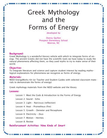 Greek Mythology and the Forms of Energy - Need