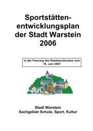 Sportstättenentwicklungsplan 2006 - Endfassung - Sport in Warstein