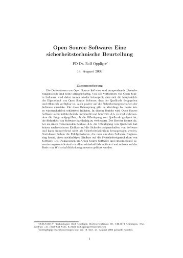 Open Source Software - esecurity Technologies Rolf Oppliger