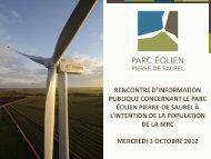Rencontre d'information publique, 3 - Parc éolien Pierre-De Saurel