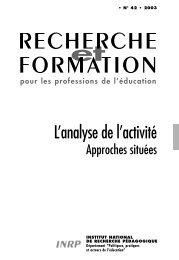 RECHERCHE FORMATION - INRP