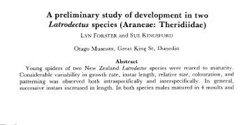 A preliminary study of development in two Latrodectus species - The ...