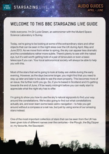 WELCOME TO THIS BBC STARGAZING LIVE GUIDE