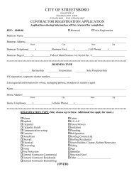 Contractor Registration Application - Streetsboro