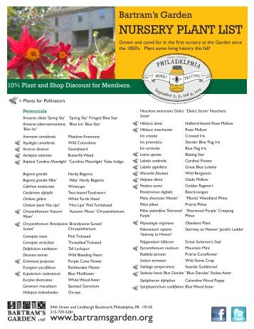 our fall plant sale availability - Bartram's Garden