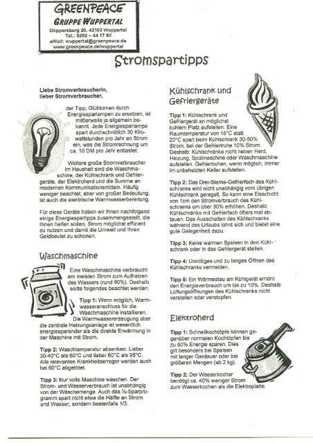 Stromspartipps als pdf-file - Greenpeace Gruppen in Deutschland