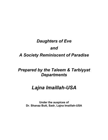 Daughters of Eve and A Society Reminiscent of - Ahmadiyya Muslim ...