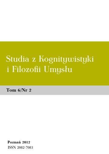 Studia z Kognitywistyki i Filozofii Umysłu 6(2)