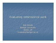 Evaluating reminiscence work - Professor Bob Woods - CARDI