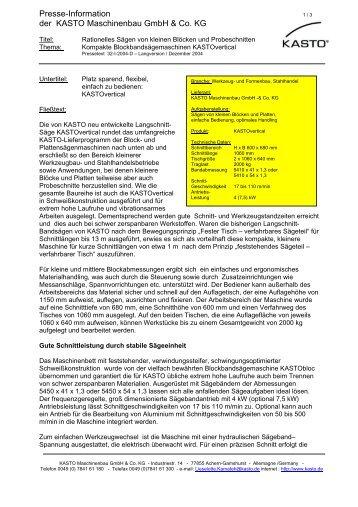 Presse-Information der KASTO Maschinenbau GmbH & Co. KG