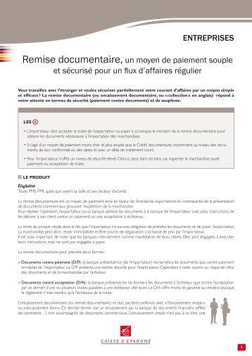 Remise documentaire, un moyen de paiement ... - Caisse d'Epargne