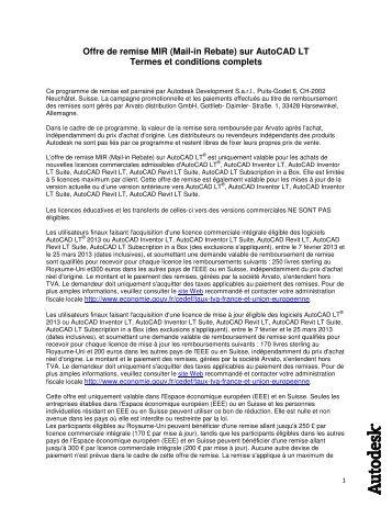 Offre de remise MIR (Mail-in Rebate) sur AutoCAD LT Termes et ...