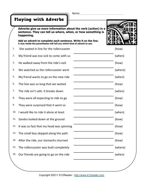 Playing With Adverbs Adverb Worksheets
