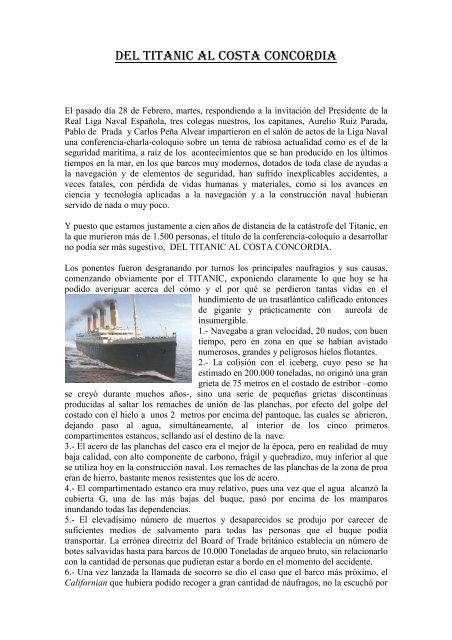 Resumen De La Conferencia Real Liga Naval Espanola